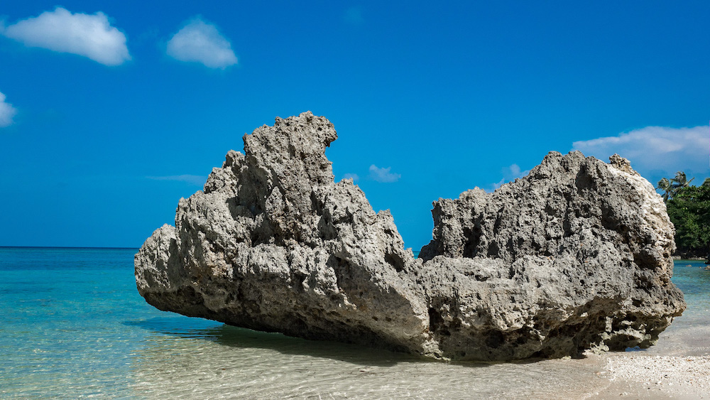 Rock off the pristine beach of Carabao Island, San Jose, Romblon
