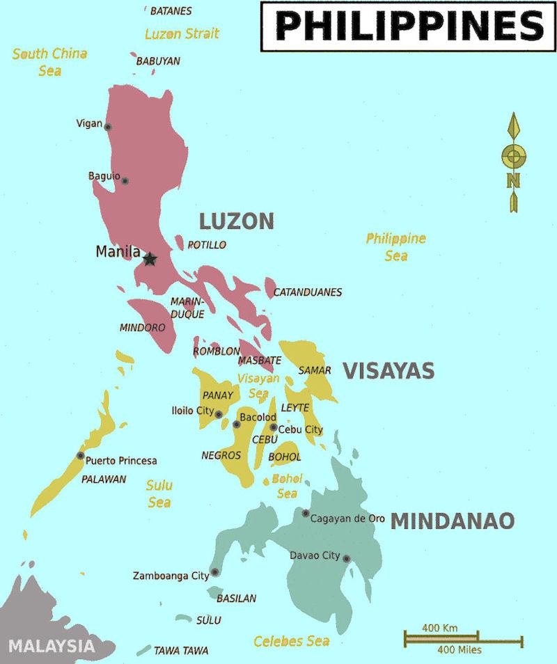 carte des régions aux philippines