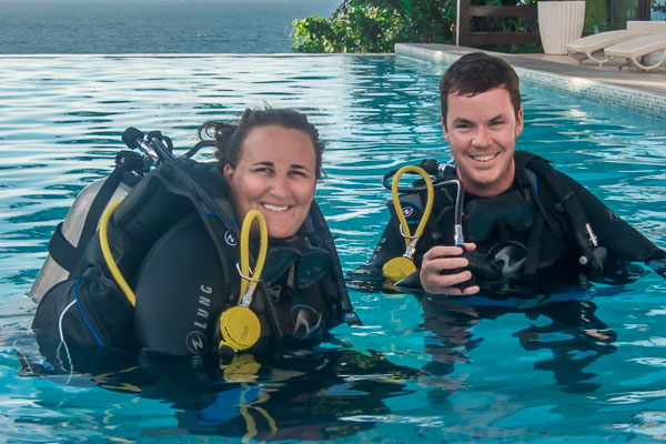 PADI open water training with Vibrations in Carabao Philippines.